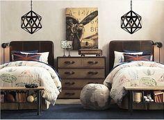 twin beds, chandeliers + union jack