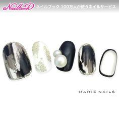 ネイル(No.893812) パール  パーティー  ブラック  ジェルネイル  ハンド  チップ   かわいいネイルのデザインを探すならネイルブック!流行のデザインが丸わかり!