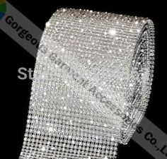 10 Yards Rhinestone Trim Crystal Banding Silver-White Net ~SS19