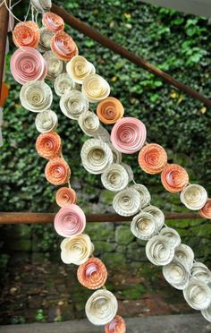 Paper rose streamers. Cute, not sure if wedding style but cute