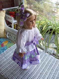 American Girl doll or 18 inch doll Purple peasant by ASewSewShop, $15.99