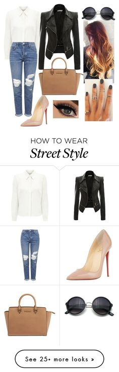 """""""Street style"""" by teenfashionicon2 on Polyvore featuring Eastex, Topshop, Christian Louboutin, Michael Kors, Arme De L'Amour, women's clothing, women's fashion, women, female and woman"""