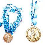 MELLIFLEURS handmade necklace;bohemian,gipsy style.Collana fatta a mano,pezzo unico,uncinetto,perle di vetro,medaglietta votiva vintage,Made in Italy