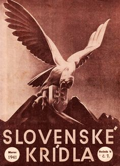 """Title page of a magazine for Slovak airmen """"Slovenské krídla"""" (Slovak wings). Title Page, Old Art, Ww2, New Books, Aviation, Tumblr, Movie Posters, Image, European Countries"""
