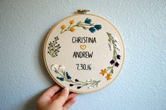 MADE TO ORDER: Please allow 3-4 weeks for your embroidery hoop to be created.  Fully customize-able wedding hoop art! Use it as a photo prop, a wedding decoration, or give it as a gift for a lovely keepsake. DETAILS: -This listing is for a 7 inch hoop -If you would prefer a different size, please send me a message! -Each hoop is backed with linen for a finished look  COLORS: -Please see the last photo for thread color options. -You may choose as many thread colors as youd like for the words…