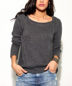 Another great find on #zulily! Gray Open Knit-Accent Boatneck Sweater #zulilyfinds