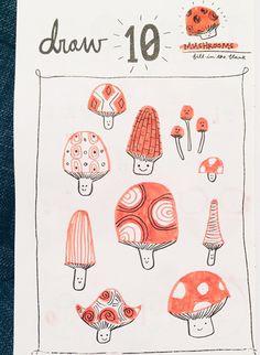 print & pattern blog: super cute mushrooms by zara gonzalez hoang