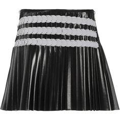 Courrèges Pleated Side Zip Mini Skirt ($2,275) ❤ liked on Polyvore featuring skirts, mini skirts, black, horizontal striped skirt, short skirts, mini skirt, short mini skirts and zipper skirt