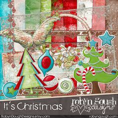Digital Scrapbook Kit Clipart - It's Christmas - Xmas Digital Kit by Robyn Gough on Etsy, digiscrap, digital scrapbook, etsy