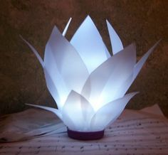 Water Lily Lamp by Roselover 2 .made from milk jugs Plastic Milk Bottles, Plastic Bottle Crafts, Crafts To Do, Home Crafts, Milk Jug Crafts, Light Crafts, Recycled Crafts, Paper Flowers, Craft Projects
