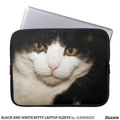 BLACK AND WHITE KITTY LAPTOP SLEEVE