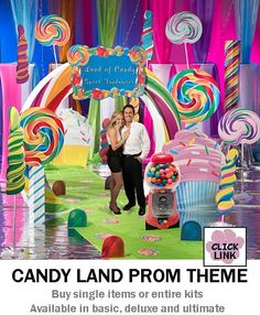 Buy Candy Land themed decorations for proms, homecoming dances and other party events.  Available by the piece or as kits.  Basic kit starts at $399.00