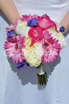 Vibrant Hot Pink Gerbera, Calla Lily, Purple Hydrangea and Ivory Peony Bridal Bouquet