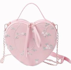 Aesthetic Collage, Embroidered Flowers, Heart Shapes, Bucket Bag, Fashion Backpack, Hot Pink, Cute Outfits, Purses, Pearls