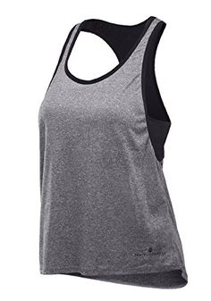 d93012add8 Womens Sports Tank Top Shirt with Built in Sports Bra For Gym Yoga Running  Small Black