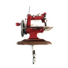 French Mini Red Sewing Machine Miniature