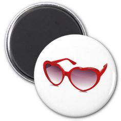 Cool heart shaped sunglasses design 2 inch round magnet