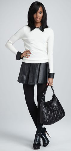 Leather Pleated Skirt