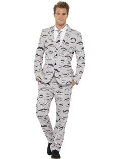 Miesten puku, viiksikuviointi. Takki, housut ja kravatti.