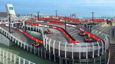 Miami-based Norwegian Cruise Lines announced Monday that its newbuild Norwegian Joywill featurea two-deck race track, with enough room to accommodate 10 electric go-karts at one time.  It will be the world's first race track on an oceangoing vessel, and Norwegian says that itwill carry the brand of aprominent builder of supercars. Passengers on the ship's high-end Haven and Concierge class decks will have free access included in their fare…