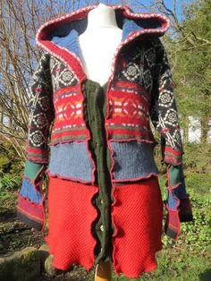 Upcycled  Hooded Cardigan, Thick Recycled Norwegian Wool Knitwear. Red, with black, green and blue. Pointy Hood. OOAK Handmade in UK. on Etsy, $162.45