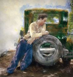 Nothing like cutting the treads of your tires to pass the time away ........ another black and white photo that was colorized and painted.  Hot Rod Art by Rat Rod Studios, www.RatRodStudios.com