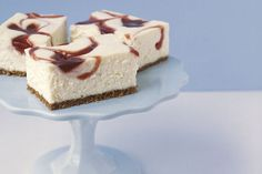 Love creamy cheesecake?  Then you're going to adore our PHILADELPHIA New York-Style Strawberry Swirl Cheesecake Squares.  Strawberry jam adds a touch of sweetness to these easy cheesecake squares.