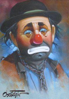 Untitled Clown by Chuck Oberstein Joker Clown, Gruseliger Clown, Es Der Clown, Clown Faces, Circus Clown, Creepy Clown, Emmett Kelly Clown, Famous Clowns, Clown Paintings