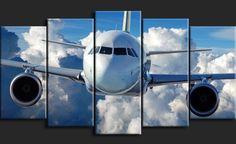Tableau Polyptyque Tendance - Avion volant au-dessus des Nuages