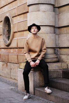 Shop this look on Lookastic:  http://lookastic.com/men/looks/black-hat-tan-crew-neck-sweater-black-dress-pants-grey-derby-shoes/7993  — Black Wool Hat  — Tan Crew-neck Sweater  — Black Dress Pants  — Grey Suede Derby Shoes