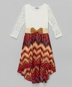 Loving this Burgundy Tribal Lace Belted Hi-Low Dress - Toddler & Girls on #zulily! #zulilyfinds