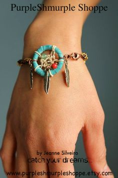 Turquoise Dream Catcher Bracelet by PurpleShmurpleShoppe on Etsy