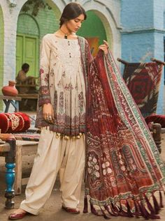 Beige salwar kameez with dupatta. Paired with the matching bottom and dupatta. Pakistani Fashion Casual, Pakistani Dresses Casual, Pakistani Dress Design, Indian Fashion, Casual Dresses, Pakistani Clothing, Summer Dresses, Dress Designs For Girls, Stylish Dresses For Girls