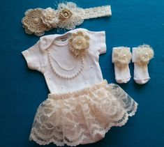 Baby Girl, Newborn, Take Home Outfit, Socks Headband Skirt, Cream Flowers, Ivory Chiffon, Tan Tulle, Pearl Necklace, Large Headband by LeopardLaceLove on Etsy https://www.etsy.com/listing/182441158/baby-girl-newborn-take-home-outfit-socks