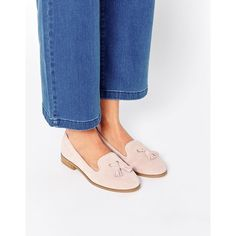 ASOS MARLEY Suede Loafers (185 SAR) ❤ liked on Polyvore featuring shoes, loafers, pink, flat shoes, flat pumps, pink flats, pink shoes and pink suede loafers