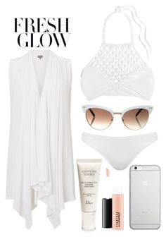 """""""Beach time"""" by mareehamasood246 on Polyvore featuring Phase Eight, Mikoh, Topshop, Gucci, Native Union, Christian Dior, MAC Cosmetics, beach, bikini and sunglasses"""
