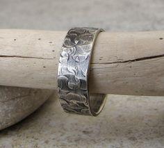 Mens Wedding Band Hammered Silver Ring Distressed Circles Wedding Ring Rustic Wedding Band. $53.00, via Etsy.