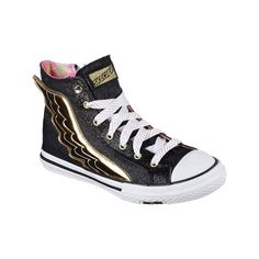 Women's Skechers OG 70 Utopia Wing It High Top Sneaker - Black/Gold... ($53) ❤ liked on Polyvore featuring shoes, sneakers, casual, casual shoes, gold glitter shoes, skechers sneakers, gold shoes, skechers shoes and metallic high top sneakers
