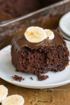 Chocolate Banana Cake is the perfect dessert for when you are short on time but need a yummy dessert. The addition of bananas to this recipe makes a box mix chocolate cake into a deliciously moist and decadent treat! Chocolate Cake Mix Recipes, Chocolate Desserts, Chocolate Chip Cookies, Cake Recipes, Dessert Recipes, Yummy Recipes, Baking Recipes, Banana Cake Mix, Banana Bread