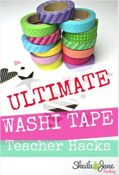 To BOOST Teacher Morale At Your School 15 Classroom Washi Tape Hacks. Washi tape makes everything prettier, don't you think? Classroom Hacks, Classroom Organisation, Teacher Organization, Teacher Tools, Music Classroom, Teacher Hacks, School Classroom, School Teacher, Elementary Teacher