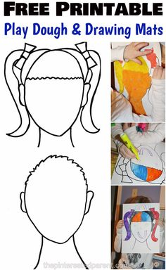 Free Printable boy & girl face mats for Play dough & for drawing inspiration for kids. Arts and crafts and creative activities. All About Me Preschool, Preschool Art, Emotions Preschool, Preschool Education, Physical Education, Playdough Activities, Kindergarten Activities, Counseling Activities, School Counseling
