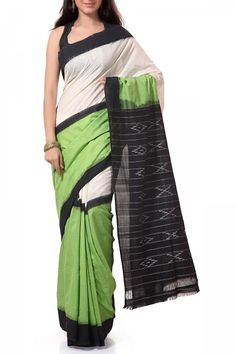 Fluorescent Green & Black Cotton Ikat Saree