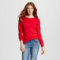 Women's Long Sleeve Crew T-Shirt - Mossimo Supply Co. (Juniors')