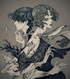 Dark, art nouveau inspired illustrations by Jinnn - Ego - AlterEgo