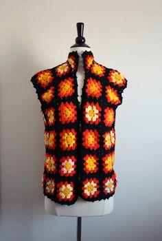 Vintage 70s Boho crochet granny square vest. One Size......heheheheh
