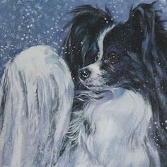 Papillon dog portrait art CANVAS print of LA Shepard painting 8x8 giclee print dog art