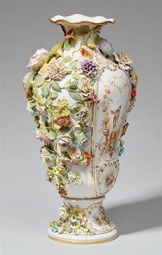 A Meissen porcelain flower-encrusted vase