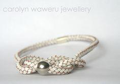 carolyn waweru jewellery - White leather knot necklace