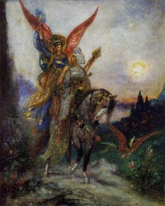 """Arabian Poet""or ""Persian Poet"" (1886), By Gustave Moreau (1826-1898), Watercolor and gouache, Private Collection, Paris, France.  #angels"