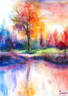 Sunset Landscape watercolor painting print by Slaveika Aladjova illustration contemporary nature art landscape original Kunst Easy Watercolor, Watercolor Landscape, Watercolor Print, Landscape Paintings, Watercolor Sunset, Watercolor Trees, Water Color Painting Landscape, Landscape Art, Illustration Landscape